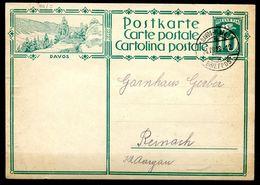 """Schweiz 1928 Bildpostkarte Mi.Nr.P127,10er Grün""""DAVOS""""bef.""""Davos--Reinach""""1 GS Used - Switzerland"""