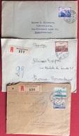 SVIZZERA  POSTA AEREA SU TRE RACCOMANDATE DA LOSANNA,MONTANA VERMALA,NEUALLSCHWIL  PER ROMA  1947-48 - Svizzera