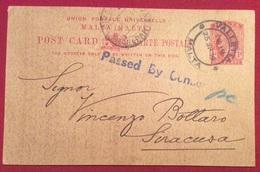 MALTA  1914 CARTOLINA POSTALE DA VALLETTA MALTA A SIRACUSA DI ALESSANDRO MANARA  VERIFICATA PER CENSURA - 1858-1921 Ottomaanse Rijk