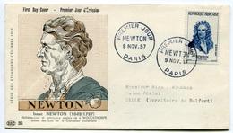RC 7682 FRANCE FDC ENVELOPPE 1er JOUR NEWTON MATHÉMATICIEN ASTRONOME ANGLAIS PARIS 1957 - 1950-1959