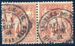 France - N°70 - Type Sage N/b - Paire - Cote 80€ - (F116C) - 1876-1878 Sage (Typ I)