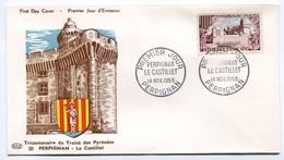 RC 7706 FRANCE FDC ENVELOPPE 1er JOUR PERPIGNAN TRAITÉ DES PYRÉNÉES 1959 - FDC