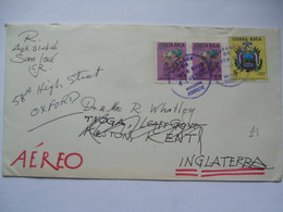 COSTA RICA - 1972 Air Mail Cover - San Jose To Kent Re-directed To Oxford England - Costa Rica