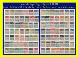 VRAC DE TIMBRES AU TYPE SAGE PAR MULTIPLES - 1 CENTAINE - OBLITÉRÉS ST / 2e CHOIX POUR ÉTUDES DE CASES OU OBLITÉRATIONS - 1876-1898 Sage (Type II)