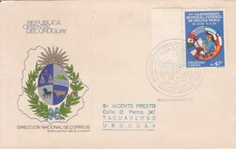 URUGUAY-1ER CAMPEONATO MUNDIAL JUVENIL DE PELOTA VASCA.-FDC-TBE-BLEUP AVEC BORD DU PLAQUE - Uruguay