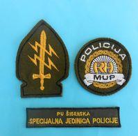 CROATIA SPECIAL POLICE - SIBENIK Compl. Set Of 3. Patches* Croatie Police Spéciale Kroatien Spezialeinheiten Der Polizei - Police