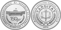 AC - 150th YEAR OF COURT OF CASSATION ( SUPREME COURT OF APPEALS ) TURKEY 1868 - 2018 COMMEMORATIVE SILVER COIN PROOF - - Turquia