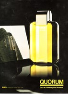 PUBLICITE DE 1989 PARFUMS  QUORIUM - Parfums & Beauté
