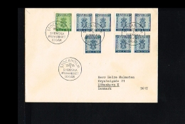 1955 - Sweden FDC Mi. 402-403 - Stamps & Coins - Stamps On Stamp/cover - 100 Years Swedisch Stamps [NL440_20] - FDC