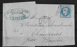 1864 Emperor Napoléon III → Brief Von Lille Nach Bauvin - 1863-1870 Napoléon III Lauré