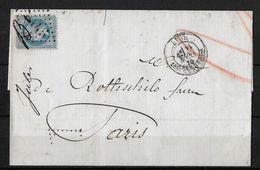 1870 Emperor Napoléon III → Brief Von Lyon Nach Paris - 1863-1870 Napoléon III Lauré