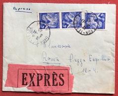 FRANCIA  4f.  STRISCIA DI TRE SU BUSTA ESPRESSO  A ROMA IN DATA 3/11/45 - Storia Postale