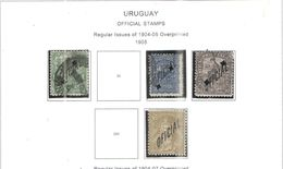 Uruguay Official  1905 Reg.Em.1904/05 Ovpr..Scott.O92+94+95+97+ Used See Scans On Scott.Page - Uruguay
