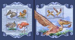 Mozambico 2018, Animals, Water Birds, Flamingo, Ducks, 4val In BF+BF - Marine Web-footed Birds