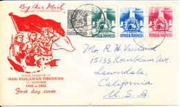 Indonesia FDC 10-11-1955 Uprated And Sent To USA - Airmail