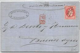 LETTRE DE MARSEILLE AVEC 80ç EMPIREADRESSEE A BUENOS AYRES ARGENTINE 1869 - 1849-1876: Periodo Classico
