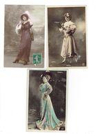 Lot 3 Cpa - Femme Artiste élégante Robe Sac Chapeau Gants - NADIR 1380 Paul Boyer SOREL Reutlinger 4095 - Artistes