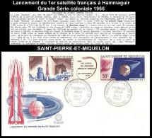 Lancement 1er Satellite Français 1966 - FDC Obl. 1er Jour - Tryptique SAINT-PIERRE-ET-MIQUELON PA34A   ..Réf.AFA23044 - 1966 Lancement 1e Satellite Française à Hammaguir