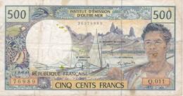 BILLETE DE OUTRE-MER DE 500 FRANCS (BANK NOTE) CARACOLA-SEA SHELL - Papeete (Polynésie Française 1914-1985)