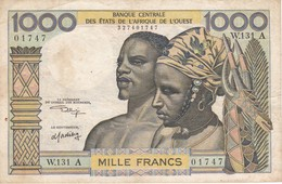 BILLETE DE COSTA DE MARFIL DE 1000 FRANCS DEL AÑO 1959  (BANKNOTE) - Côte D'Ivoire