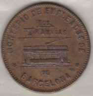 Jeton Tramways. COOPERATIVA TRANVIAS DE BARCELONA. 10 CENTIMOS 1916. - Professionnels/De Société