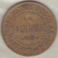 "Arenys De Mar. Cooperativa Popular ""La Fraternidad"". 10 Centimos Nd . Laiton - Republican Location"