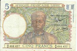 5 FRANCS - AFRIQUE FRANÇAISE LIBRE - A/2 486457 - RARE - CIRCULÉ - VOIR PHOTOS - Other - Africa