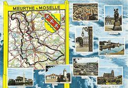 """CPM . MULTIVUES DU DEPARTEMENT DE """" MEURTHE & MOSELLE """" AFFR AU VERSO LE 24-9-1973 . 2 SCANES - France"""