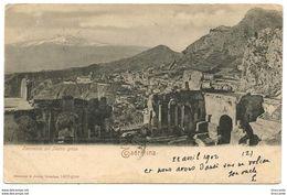 TAORMINA ( Messina ) COL TEATRO GRECO - Viaggiata 1902 - Ed. Rommler & Jonas - Altre Città
