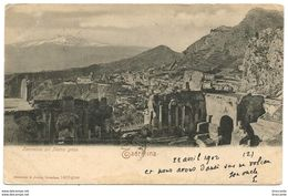 TAORMINA ( Messina ) COL TEATRO GRECO - Viaggiata 1902 - Ed. Rommler & Jonas - Italia
