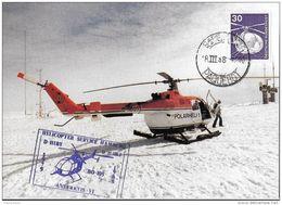 47-25 - Carte  Allemande Illustration Hélicoptère à La Base Neumayer 1988 - Cachet Illustré - Helicópteros