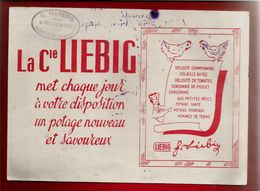 Buvard Liebig Potage - Cachet G. Manenq Bazar Ledergues Aveyron - Dessin Cuisinier Menu Poule... - Buvards, Protège-cahiers Illustrés