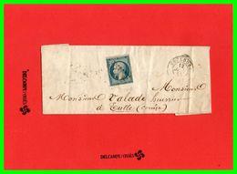 .Pli Lettre1853 à Monsieur Valade Huissier à Tulle.n°15.25c1853.bleu Foncé Non Dentelé Empire Franc. - 1849-1876: Période Classique