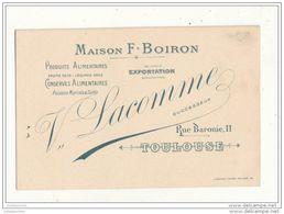 31 TOULOUSE CARTE DE VISITE 13.3X8.7 MAISON F BOIRON PRODUITS ALIMENTAIRES CARTE BON ETAT - Cartes De Visite