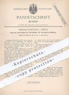 Original Patent - Heinrich Dortschy , Berlin , 1885 , Biegen Der Drahtbügel Für Flaschenverschluss | Flasche , Flaschen - Historische Dokumente