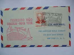 BRAZIL - 1960 First Flight Cover Brasilia To New York - Covers & Documents
