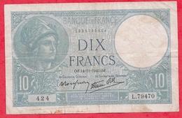 "10 Francs""Minerve"" Du 14/11/1940. OF Série L.79470----- VG/TTB - 10 F 1916-1942 ''Minerve''"
