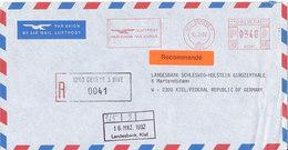 Hong Kong Registered Air Mail Bank Cover With Meter Cancel Sent To Germany 12-3-1992 - Hong Kong (...-1997)