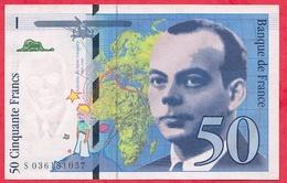 """50 Francs """"St Exupéry"""" 1997 N °S 036181057 -----AU/SPL - 1992-2000 Last Series"""