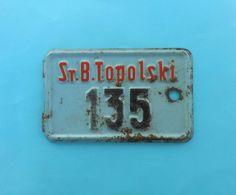 YUGOSLAVIA KINGDOM ( Serbia ) - Vintage Pre-WW2 Motorcycle-bicycle License Plate Moto Motorcycle Motorrad Motocyclette - Number Plates