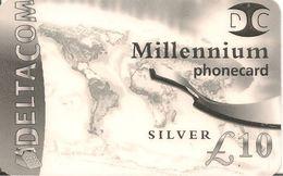 CARTE-PREPAYEE-GB-10£-DELTACOM-SILVER--MILLENIUM-Plastic Fin-TBE- - Royaume-Uni