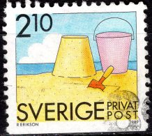 SWEDEN 1989 Rebate Stamps. Summer Activities - 2k.10 - Sand Castle, Bucket And Spade FU - Oblitérés