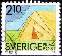 SWEDEN 1989 Rebate Stamps. Summer Activities - 2k.10 - Camping FU - Oblitérés