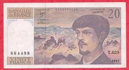 """20 Francs""""Debussy"""" 1990 Série T.029 ------AU/SPL - 1962-1997 ''Francs''"""