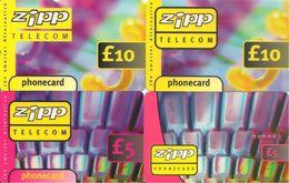 4-CARTES-PREPAYEES-GB-5/10£-ZIPP TELECOM-Plastic Epais-TBE- - Royaume-Uni