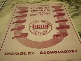 ANCIENNE PUBLICITE LA REINE DES  CAMIONNETTE UNIC   1929  CIRES SULTANE - Camions