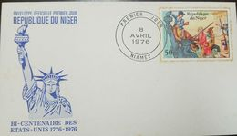 O) 1967 NIGER, STATUE OF LIBERTY AND WASHINGTON CROSSING THE DELAWARE SCOTT A100-CALL TO ARMS-AMERICAN BICENTENNIAL, FDC - Niger (1960-...)