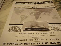 ANCIENNE PUBLICITE CROISIERE PAR LES PAQUEBOT CHARGEURS REUNIS   1929 - Boats