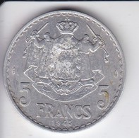MONEDA DE MONACO DE 5 FRANCS DEL AÑO 1945 (COIN) LOUIS II - 1922-1949 Louis II