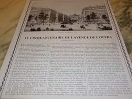 ANCIENNE PUBLICITE LE CINQUANTENAIRE DE L AVENUE DE L OPERA  1929 - Publicidad